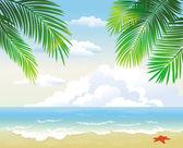 Tropical beach with palm leaf — Stock Vector