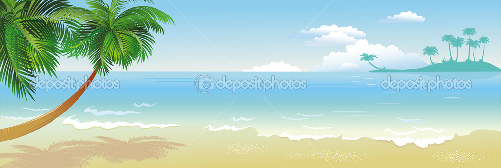 Panoramic tropical beach with palm — Stock Vector #2606902