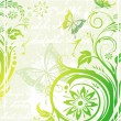 Vector green floral background — Stock Vector