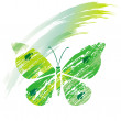 Green butterfly from line brushes — Stock Vector #2619424