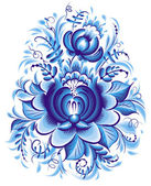 Blauwe bloem in gzhel stijl — Stockvector