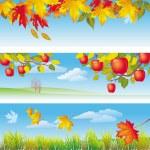 Three autumn banners — Stock Vector