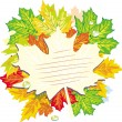 Colorful frame from maple leaves — Vettoriali Stock