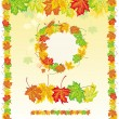Vector de stock : Colorful frame from maple leaves