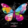 Butterfly from color splashes — Vector de stock