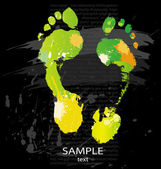Foot print from color splashes — Stock Vector
