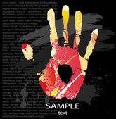 Hand print from color splashes — Stock Vector