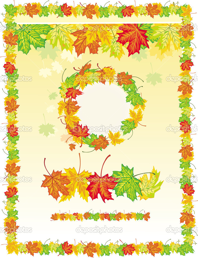 Colorful frame from maple leaves — Stock Vector #2630263