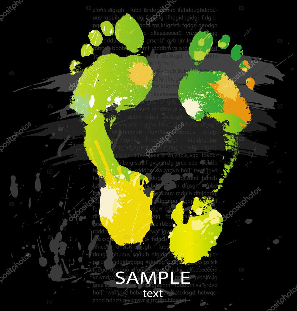 Foot print from color splashes and line brushes  Stock Vector #2631699