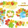 Vector de stock : Frames and banners from leaves