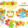 Stock Vector: Frames and banners from leaves