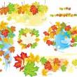 cornici e banner da foglie — Vettoriale Stock