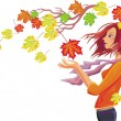 Stock Vector: Girl with autumn leaves