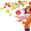 Girl with autumn leaves - Stock Vector