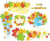 Frames and banners from leaves — Stock Vector