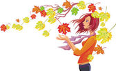 Girl with autumn leaves — Stock Vector