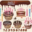 Royalty-Free Stock Vector Image: Set with Chocolate cakes