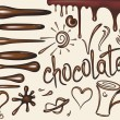Set  brushes of chocolate drips — Image vectorielle