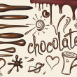 Set  brushes of chocolate drips - Stock Vector