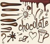 Set de cepillos de gotas de chocolate — Vector de stock