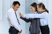 Krzycząc w biznesmen w biurze — Zdjęcie stockowe
