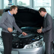 Car salesperson explaining about car's engine to - Stockfoto