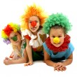 Three funny clowns — Stock Photo