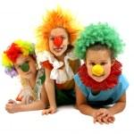 Three funny clowns — Stock Photo
