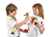 Little messy artists — Stock Photo