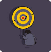 Person with the target and broken heart. — Vector de stock