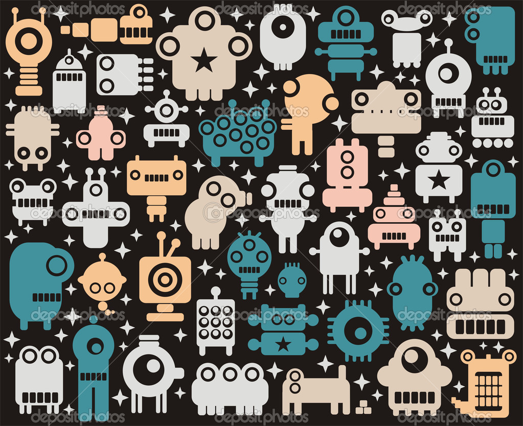 A lot of cute small colorful robots with stars on the black background. — Stock Vector #2382280