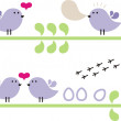Royalty-Free Stock Vector Image: Small birds on the branch.
