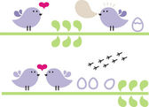 Small birds on the branch. — Stock Vector