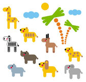 Cute animals of Africa set. — Stock Vector