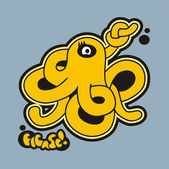 The octopus and his sign. — Stock Vector