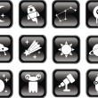 Space icons set on black. — Stock Vector