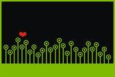 Corazón con el fondo de hierba. — Vector de stock