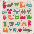 Zoo of robots  from the other planet. - Stock Vector