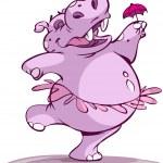 Ballerina hippo — Stock Vector
