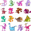 Collection of cute dinosaurs - Stock Vector