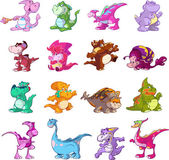 Collection of cute dinosaurs — Stock Vector