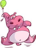 Cute pink hippo on small balloon — Vettoriale Stock