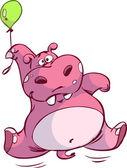 Ippopotamo rosa carino su palloncino piccolo — Vettoriale Stock