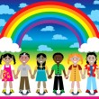 Rainbow Background with Kids - Stok Vektr
