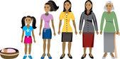 Kadının yaşı ilerleme 1 — Stok Vektör