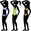 Royalty-Free Stock Vector Image: Swimsuit Silhouettes 3