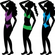 Swimsuit Silhouettes 2 — Stock Vector