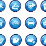 Twelve Glossy Vector Travel Icons. — Stock Vector