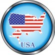 USA Round Button — Stock Vector