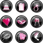 Wedding Button Icons — Stock Vector